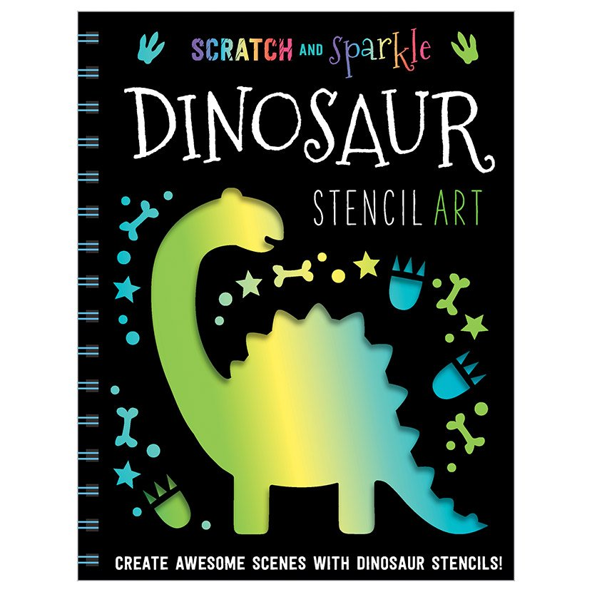 First Spread of Scratch and Sparkle Dinosaur Stencil Art (9781789470369)