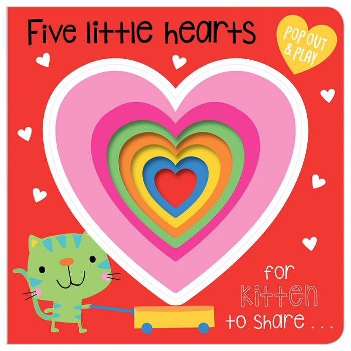 First Spread of Five Little Hearts (9781786928948)