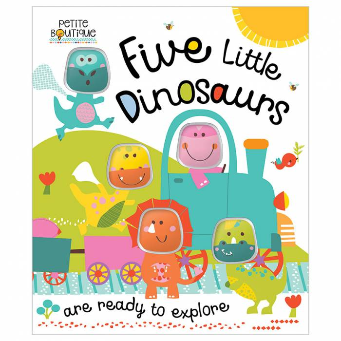 First Spread of Petite Boutique Five Little Dinosaurs (9781786921277)