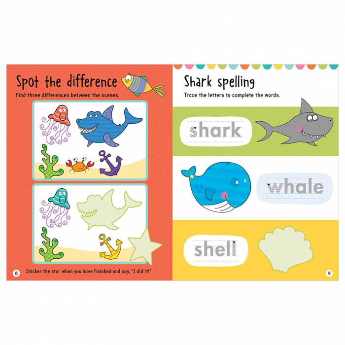 First Spread of Big Stickers for Little Hands Sharks