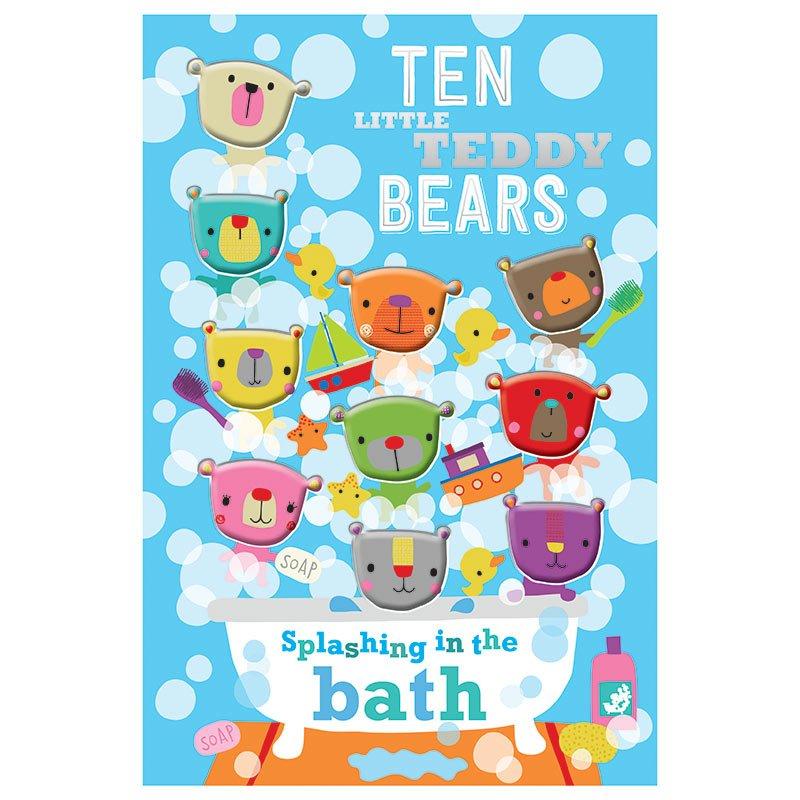 First Spread of Ten Little Teddy Bears Splashing In the Bath (9781785984693)