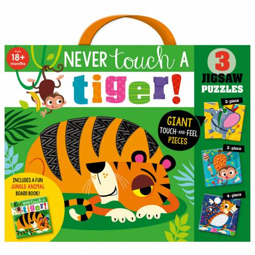 First Spread of Never Touch a Tiger! Jigsaw (9781800583115)